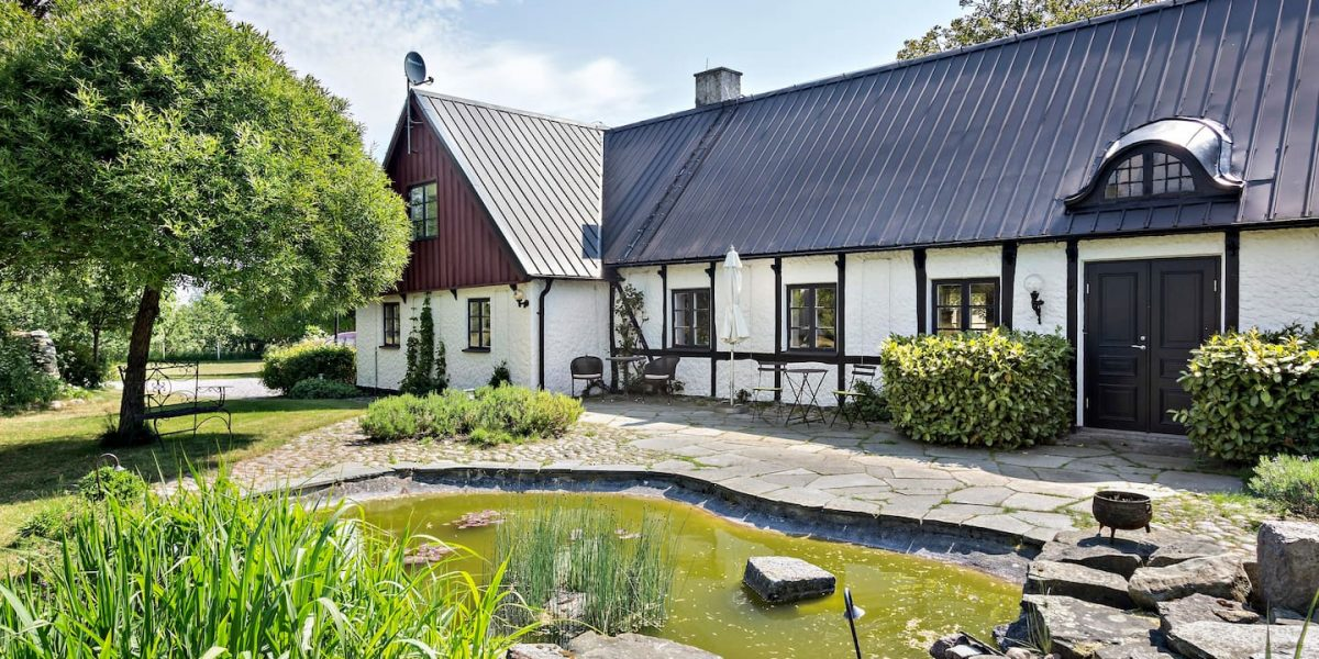 Öppen skogsmiljö i Henriksdals Vingård med vinprovning i österlen