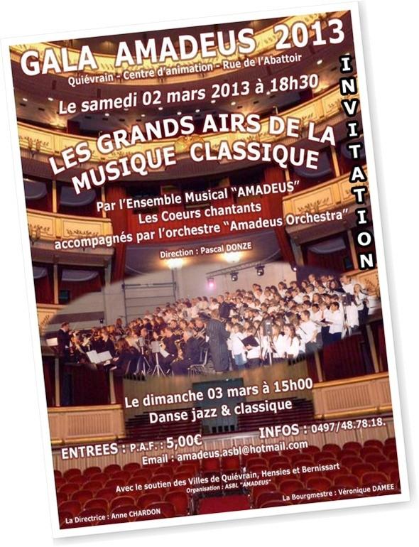 Concert Amadeus 2013 ces samedi 2 et dimanche 3 mars 2013