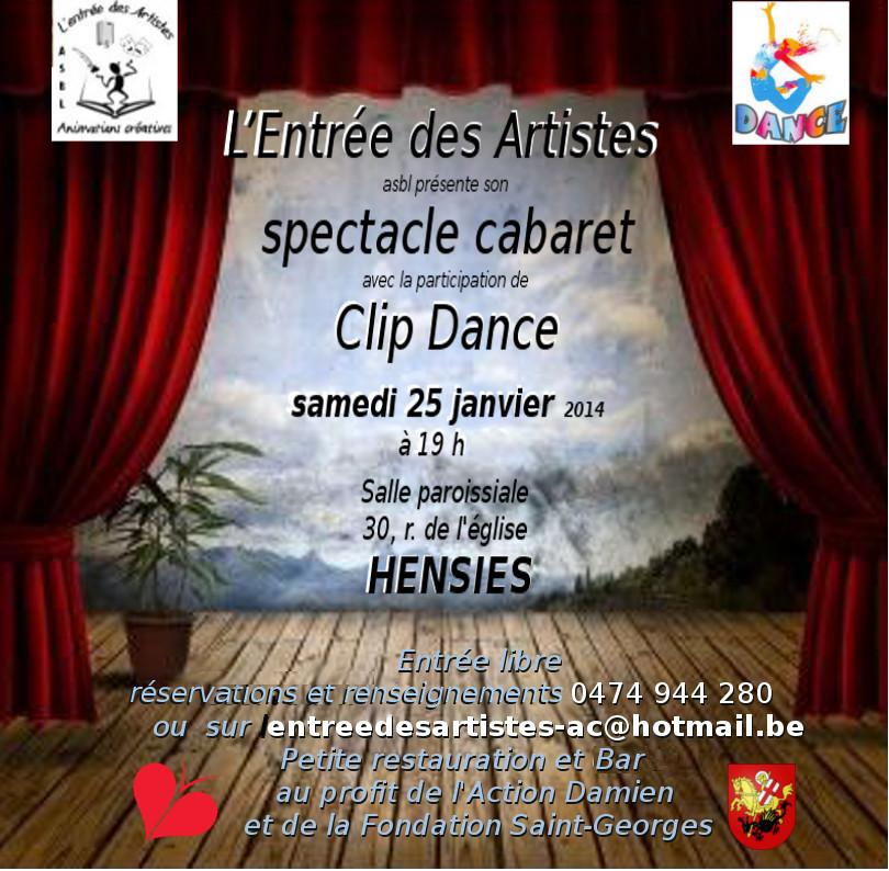 L'Entrée des artistes présente son cabaret spectacle ce 25 janvier 2014