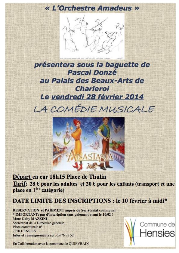 L'orchestre Amadeus présentera ce 28 février à Charleroi la comédie musicale «Anastasia»