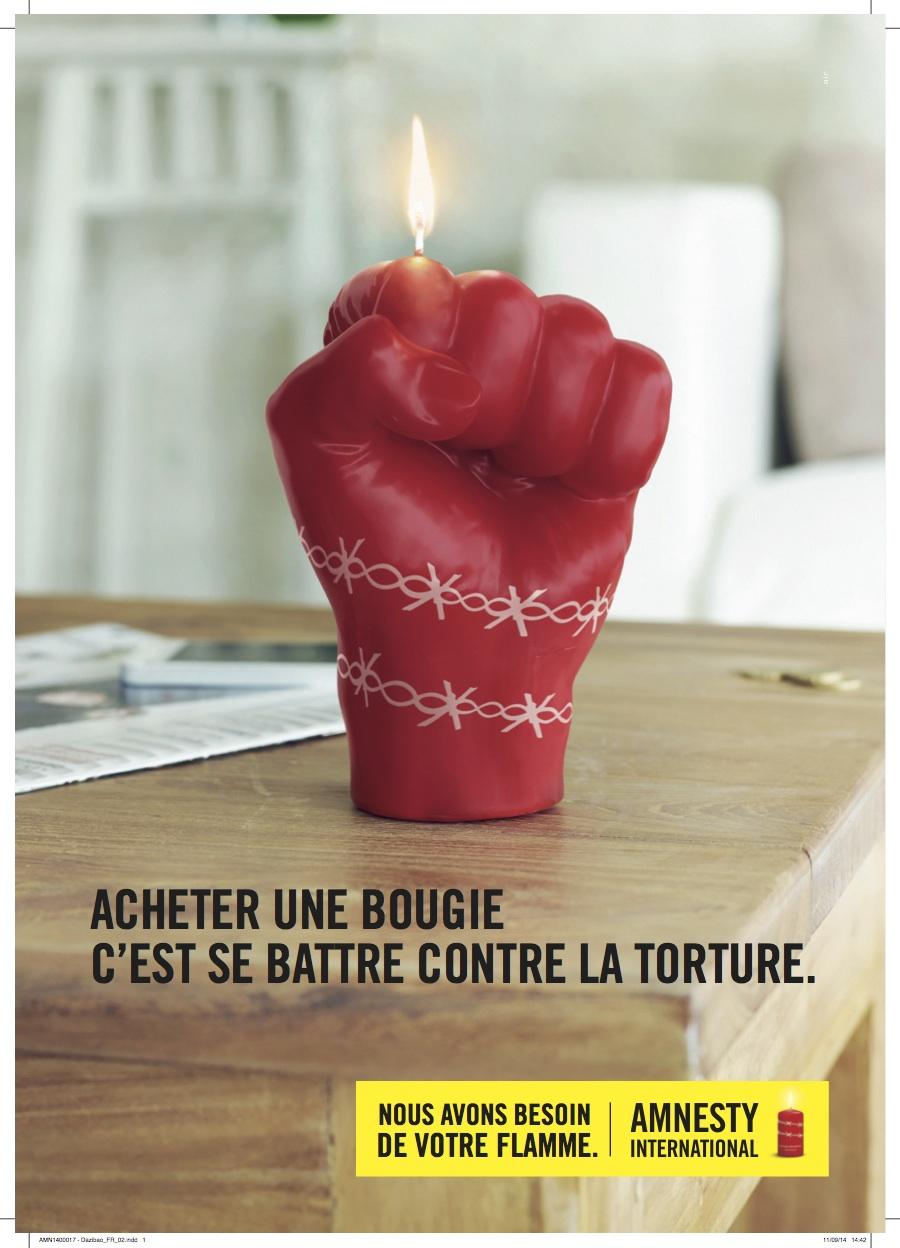 Campagne bougies 2014 d'Amnesty International : acheter une bougie, c'est se battre contre la torture.