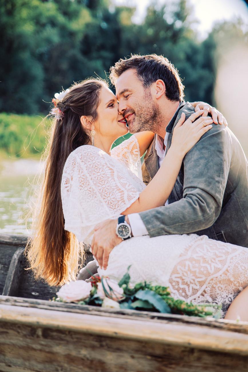 Brautpaar Fotoshooting im Boot
