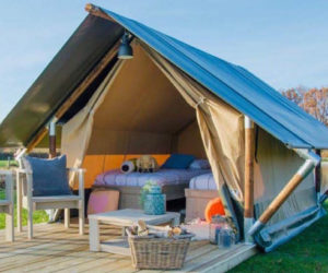 verblijf in glamping tent