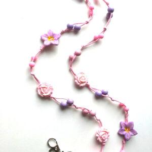 Kukka-avainnauha-pinkki-ruusu