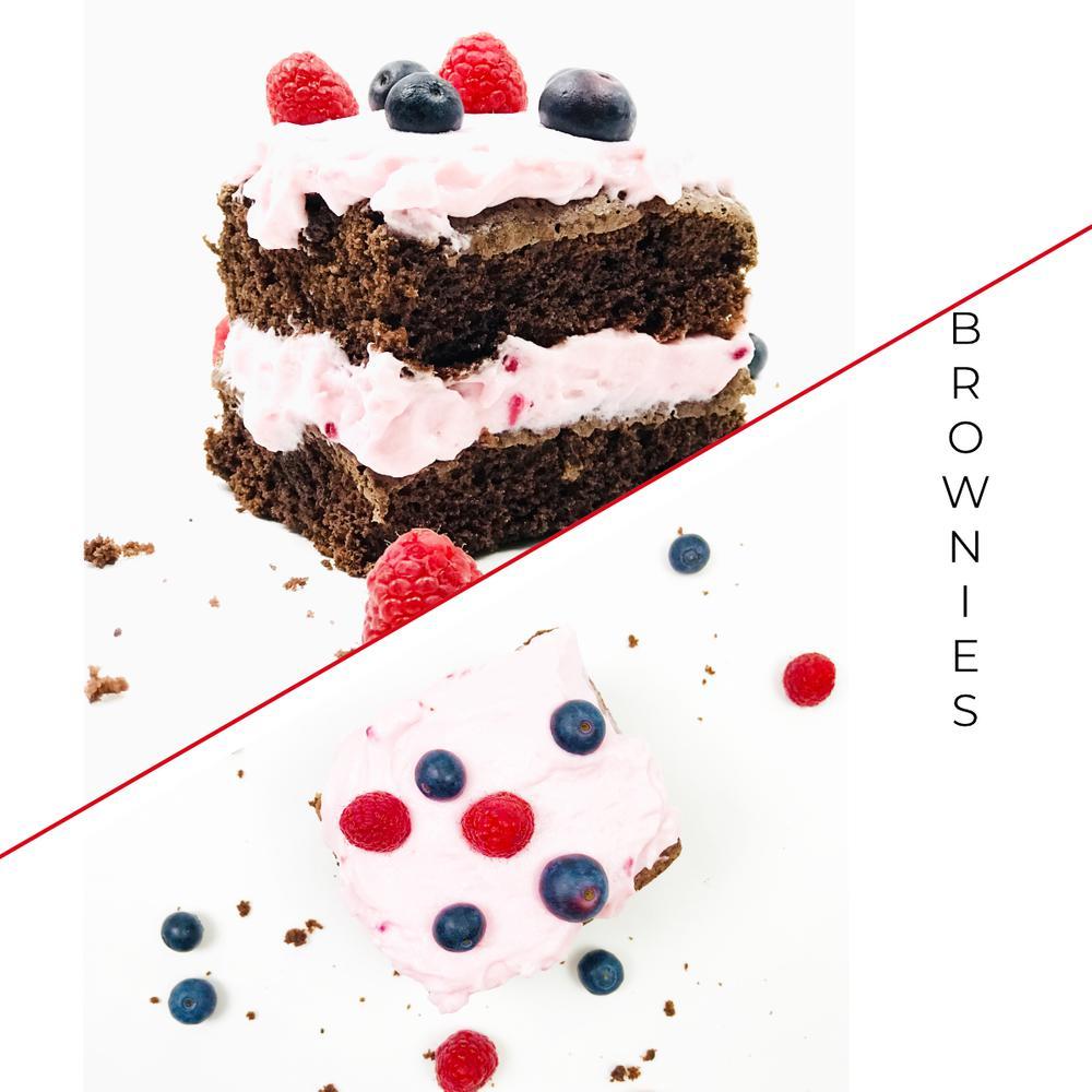 BROWNIES MIT HIMBEER-SAHNE-CREME