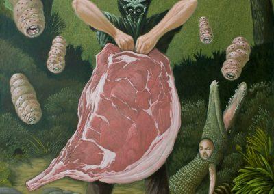 Der Beefträger • 2015, Acryl auf Leinwand, 100 x 80 cm