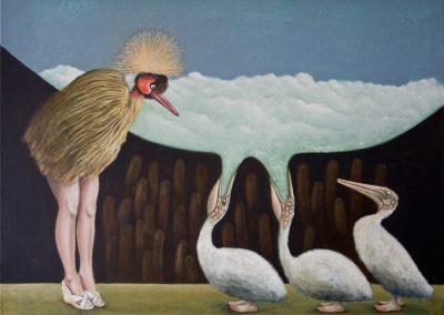 Führung durch die Vogelwelt • 2010, Öl/Acryl auf Leinwand, 80 x 110 cm