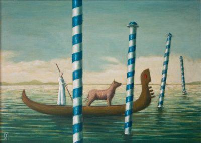 Keep dry, use no hook • 1999, Acryl auf Holz, 80 x 60 cm