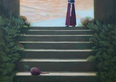 Eine Geschichte die mit einer roten Bete beginnt ...  • 1998, Acryl auf Leinwand, 140 x 110 cm