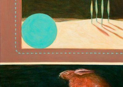 Der rote Hase • 1995, Acryl auf Holz, 46 x 48 cm