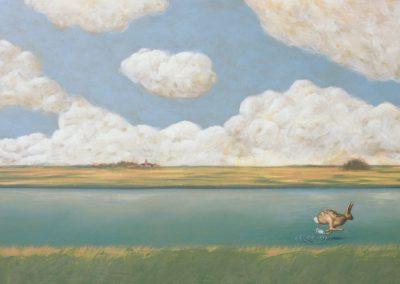 Die Zeit bis zum Abend • 2004, Acryl auf Leinwand, 75 x 120 cm