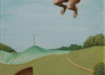 Eigentlich ein scheues Reh • 2003, Acryl auf Leinwand, 80 x 40 cm