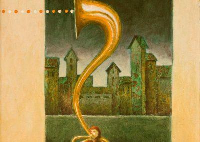 Noch kurz vor der Schau • 1997, Acryl auf Holz, 75 x 43 cm