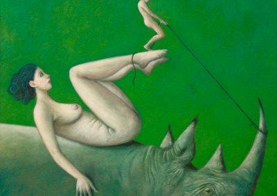 Vom Schwan geweckt • 2001, Acryl auf Holz, 85 x 78 cm