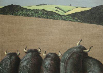 Wir warten auf den Rauch • 2005, Acryl auf Leinwand, 80 x 100 cm