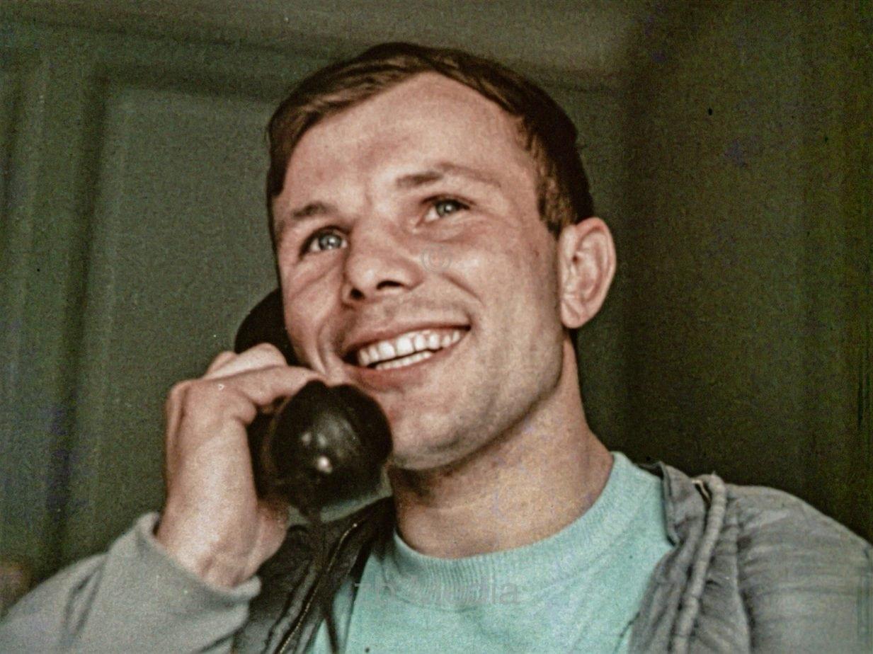 Yuri Gagarin after returning to earth