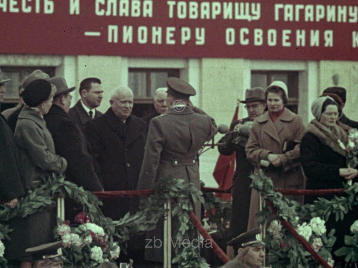 Empfang von Juri Gagarin in Moskau Tushino