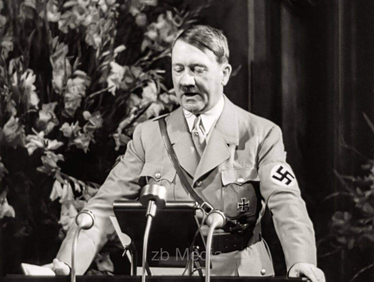 Adolf Hitler at the lectern