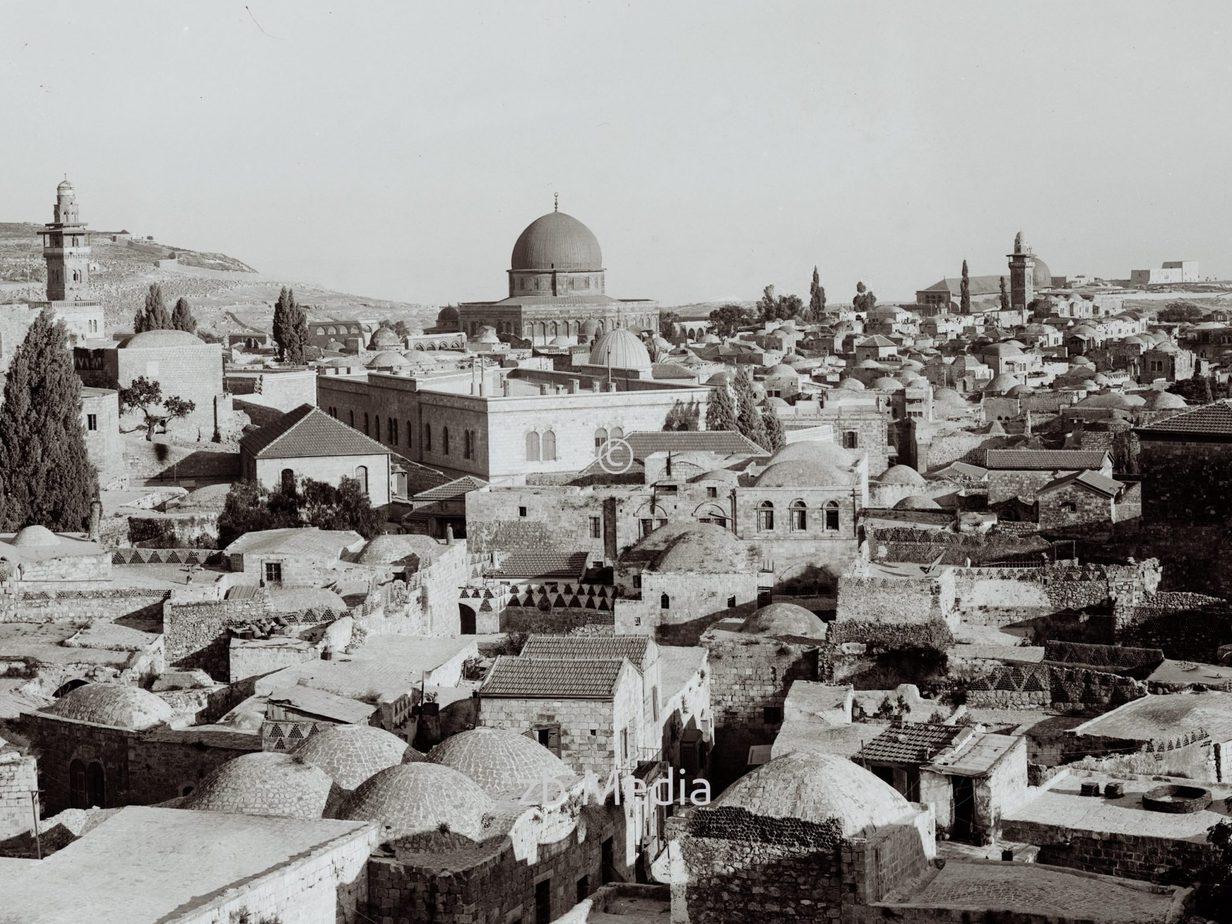 Altstadt von Jerusalem mit Felsendom 1930