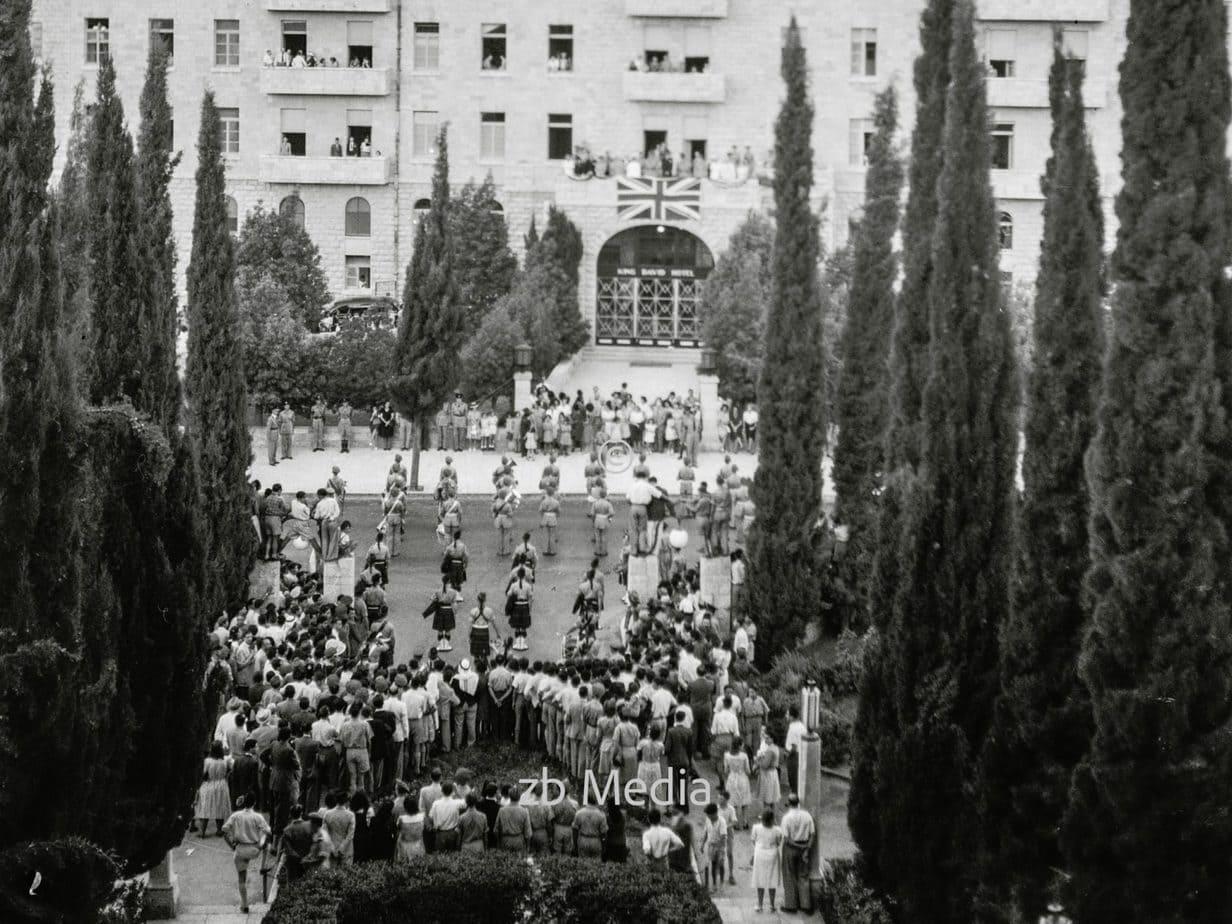 Britische Parade am King David Hotel in Jerusalem 1935