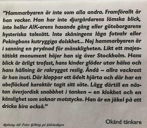 Hyllning till Peter Sjöberg
