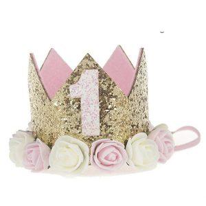 roze verjaardagskroon 1 jaar