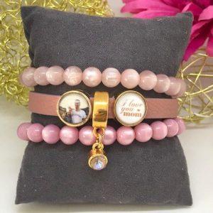 armband leder roze