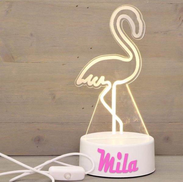 ledlamp flamingo met naam