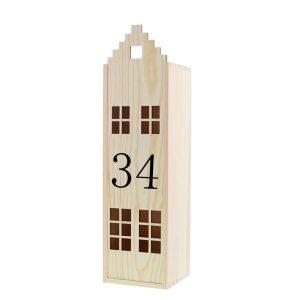 huisje wijnkist met huisnummer