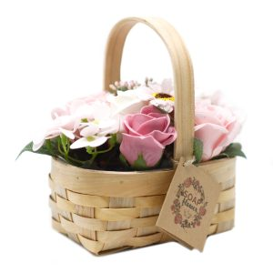 zeepbloemen mandje roze