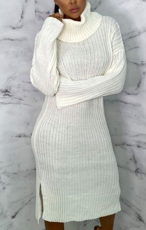 Cream High Neck Knitted Side Split Jumper Dress – Penelope