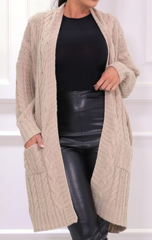 Stone Knitted Long Line Cardigan – Vicki