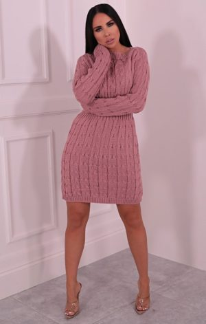 Dusky Pink Cable Knit Jumper Dress