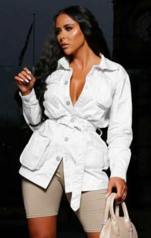 White Long Sleeve Belted Utility Cargo Jacket – Abril