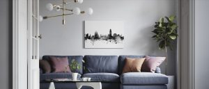 Barcelona Skyline Black Canvas
