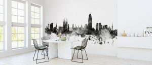 Barcelona Skyline Black Wallpaper