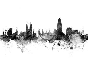 Barcelona Skyline Black Print