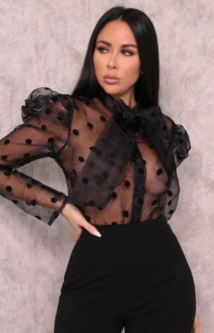 Black Polka Dot Organza Mesh Top – Bonita