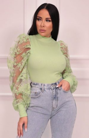 Sage Mesh Floral Sleeve Ribbed Top – Matilda