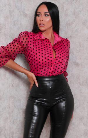 Pink Polka Dot Organza Collar Mesh Top – Sara