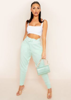 Jenniya Mint Green Knitted Jogger Bottoms