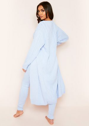 Rocha Pale Blue Cable Knitted Long Oversized Cardigan