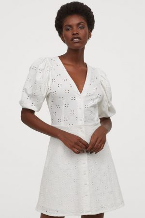 Puff-sleeved cotton dress