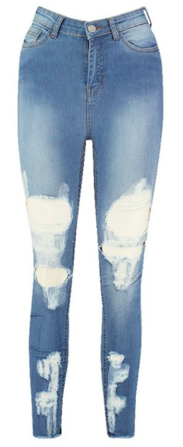 Power Stretch High Rise Distressed Skinny Jean