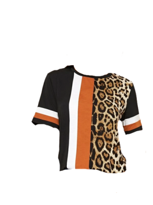 SHEIN Leopard Colour-block Tee
