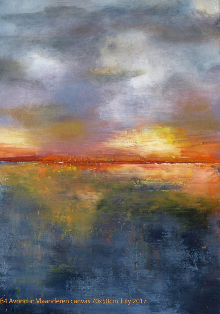 B4 Avond in Vlaanderen canvas 70x50cm Hollingsworth Paul July 2017 SOLD. Oil Paintings by Paul Hollingsworth.