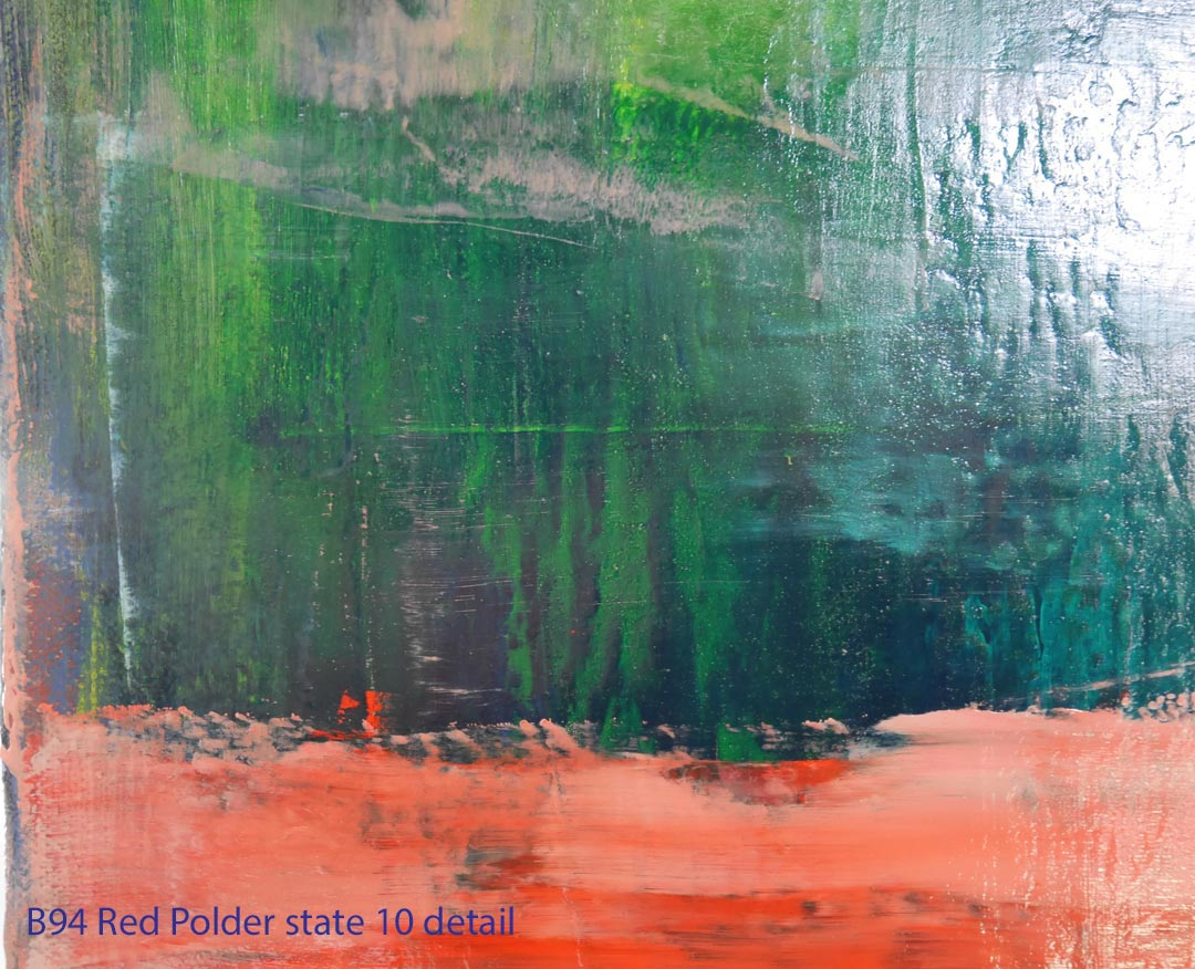 Abstract Oil Painting Red Polder by Paul Hollingsworth - Painting State 10 detail of 21