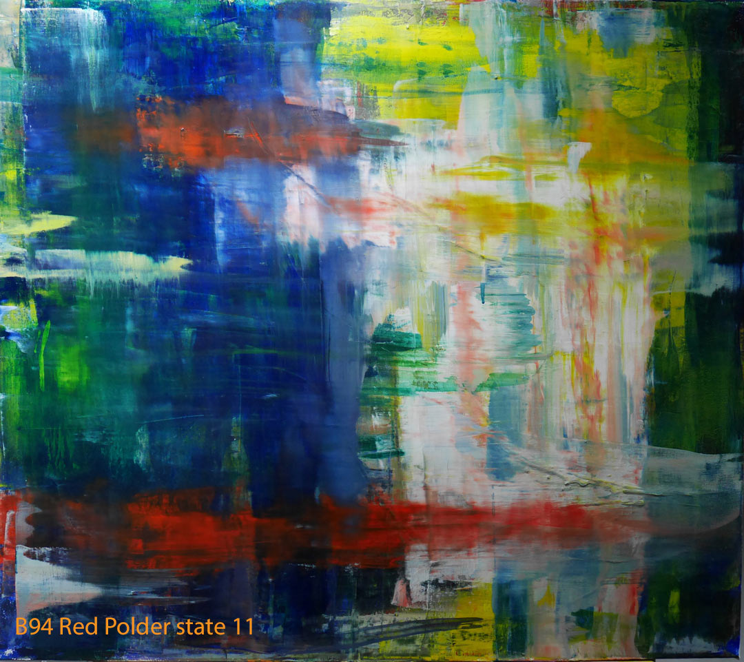 Abstract Oil Painting Red Polder by Paul Hollingsworth - Painting State 11 of 21