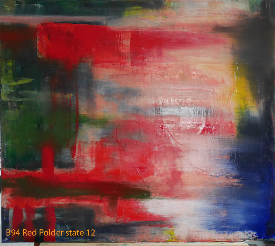 Abstract Oil Painting Red Polder by Paul Hollingsworth - Painting State 12 of 21