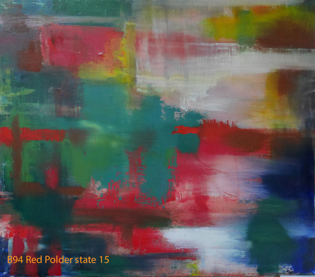 Abstract Oil Painting Red Polder by Paul Hollingsworth - Painting State 15 of 21